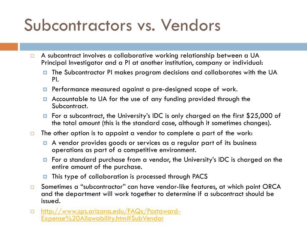 Subcontractors vs. Vendors