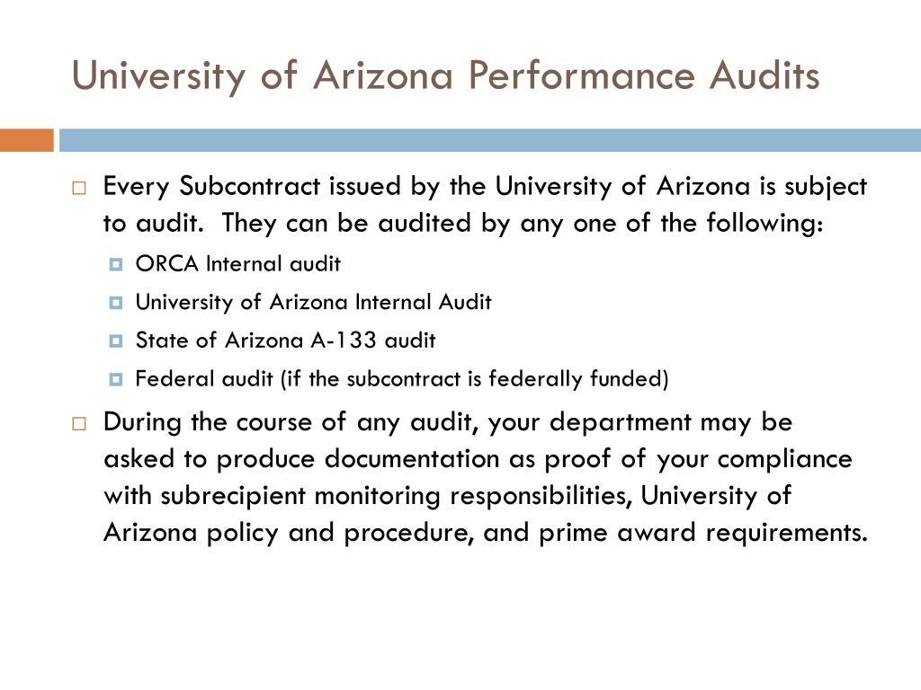 University of Arizona Performance Audits