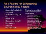 risk factors for sundowning environmental factors