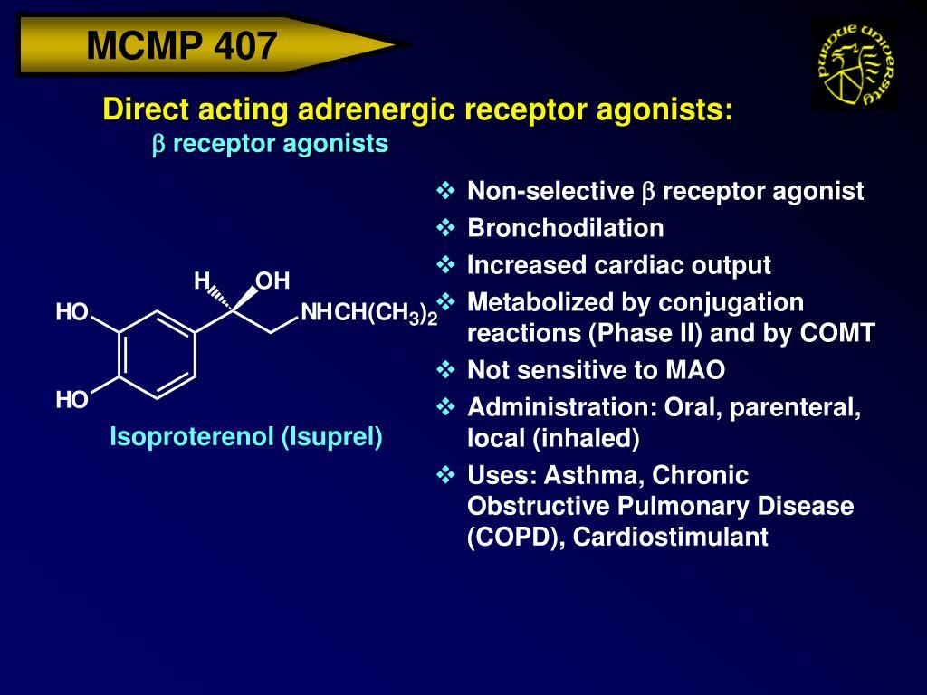 Direct acting adrenergic receptor agonists:
