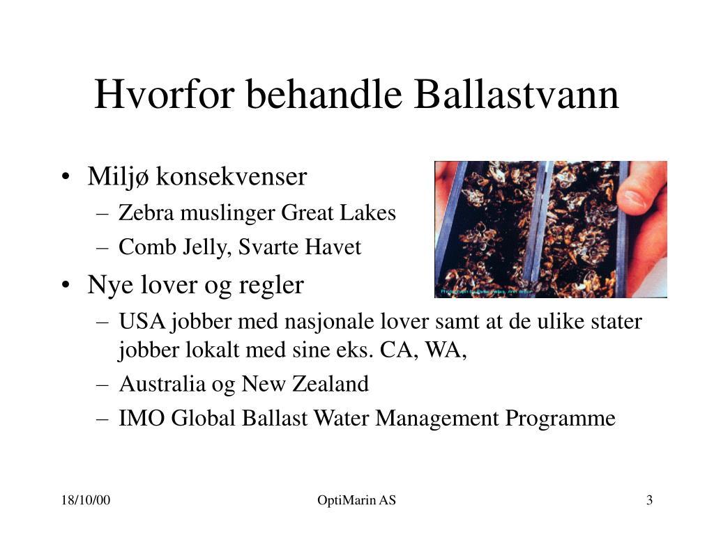 Hvorfor behandle Ballastvann