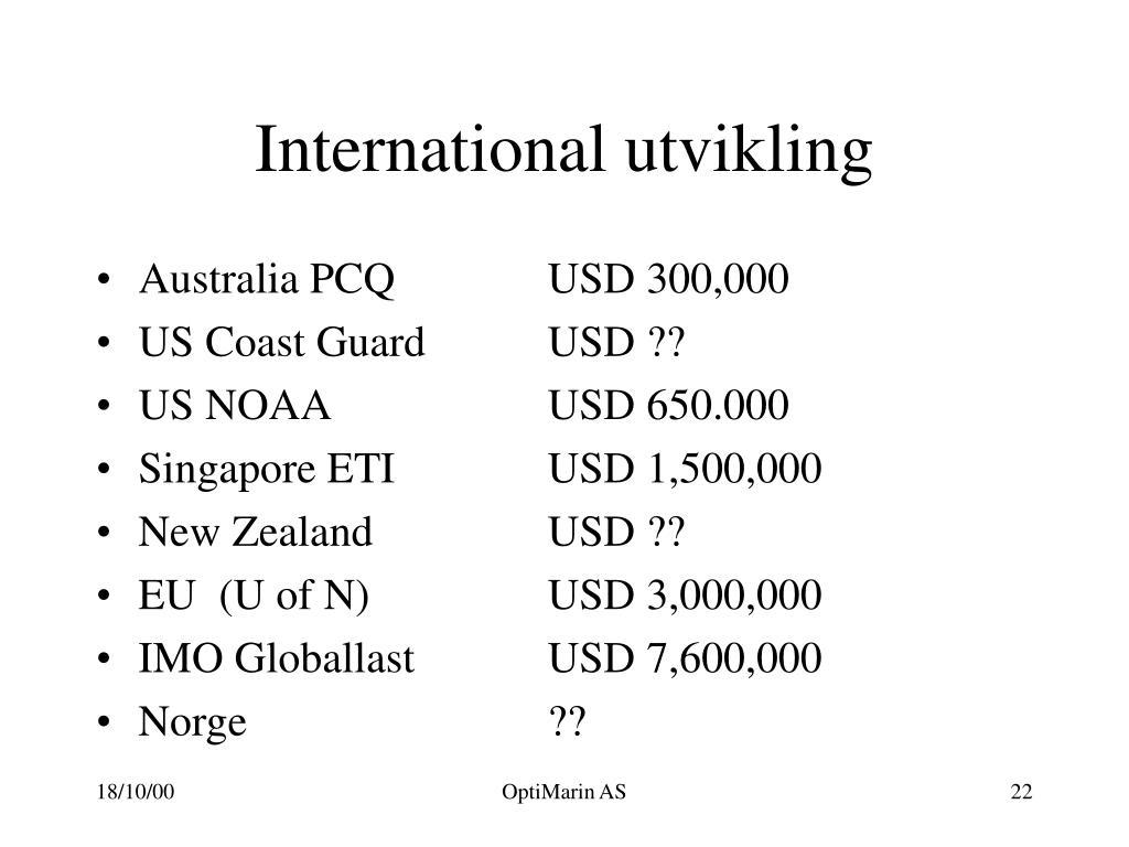 International utvikling