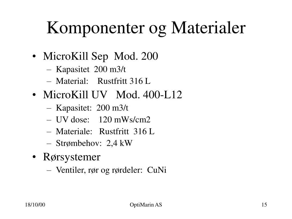 Komponenter og Materialer