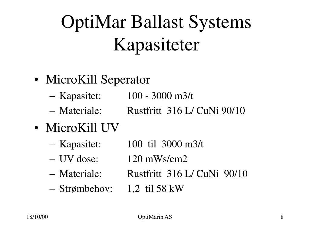OptiMar Ballast Systems Kapasiteter