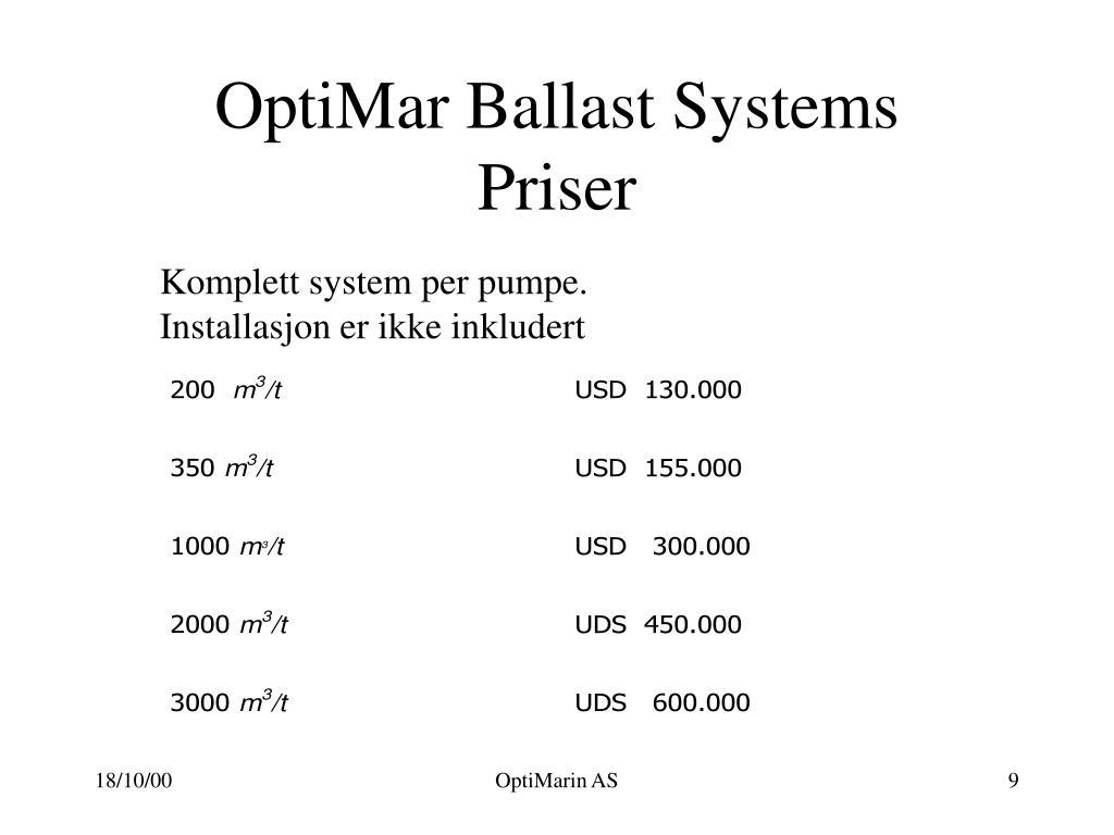 OptiMar Ballast Systems