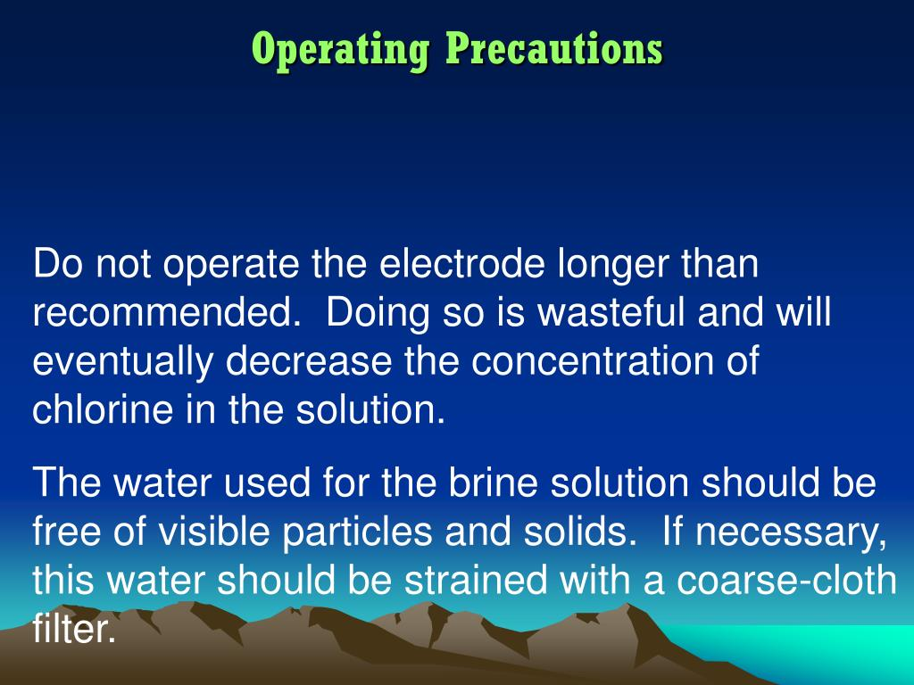 Operating Precautions