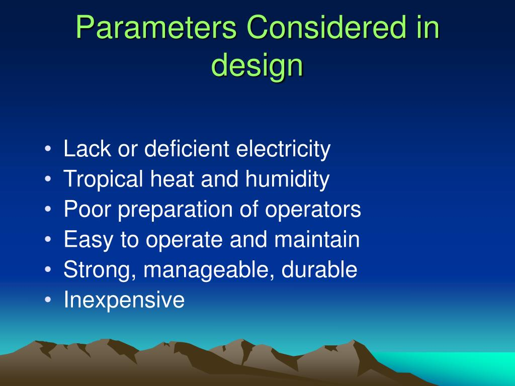 Parameters Considered in design