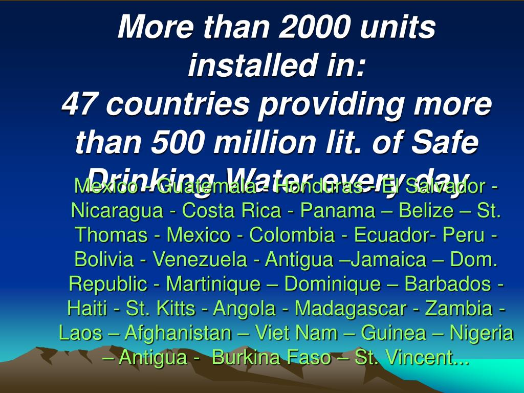 More than 2000 units installed in: