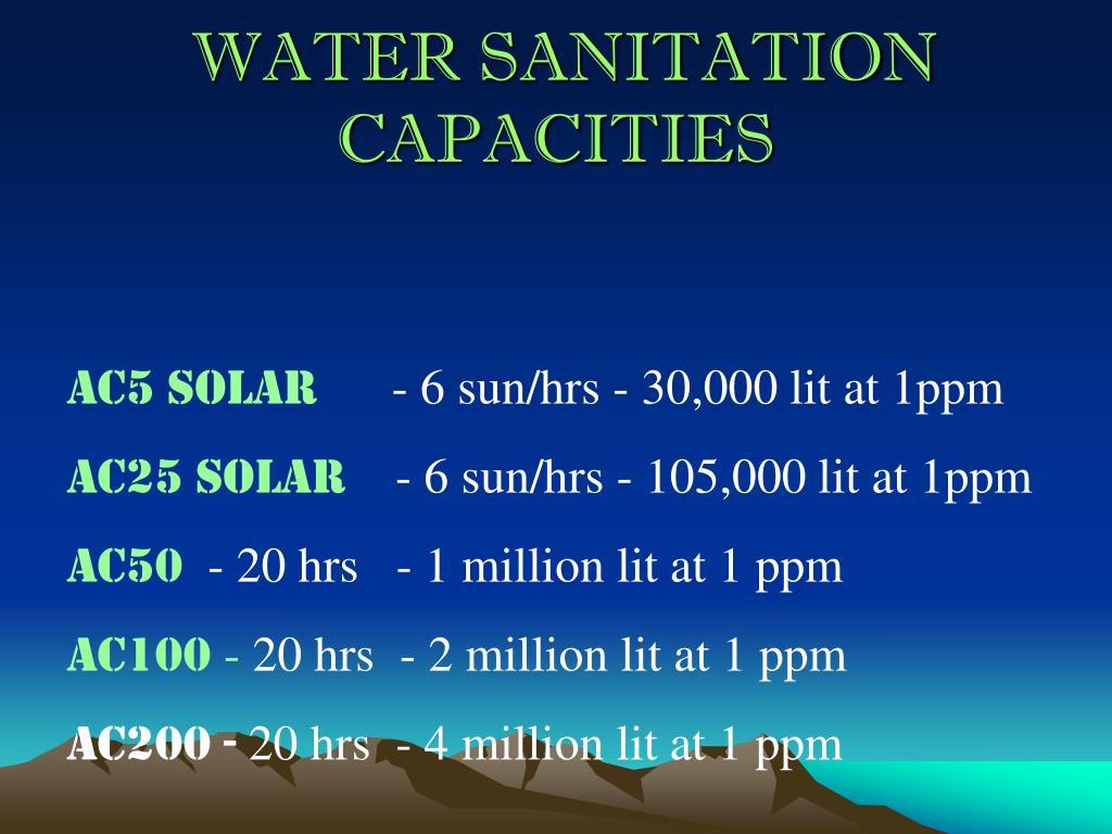 WATER SANITATION CAPACITIES