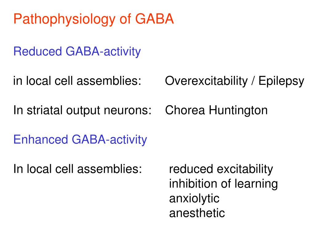 Pathophysiology of GABA