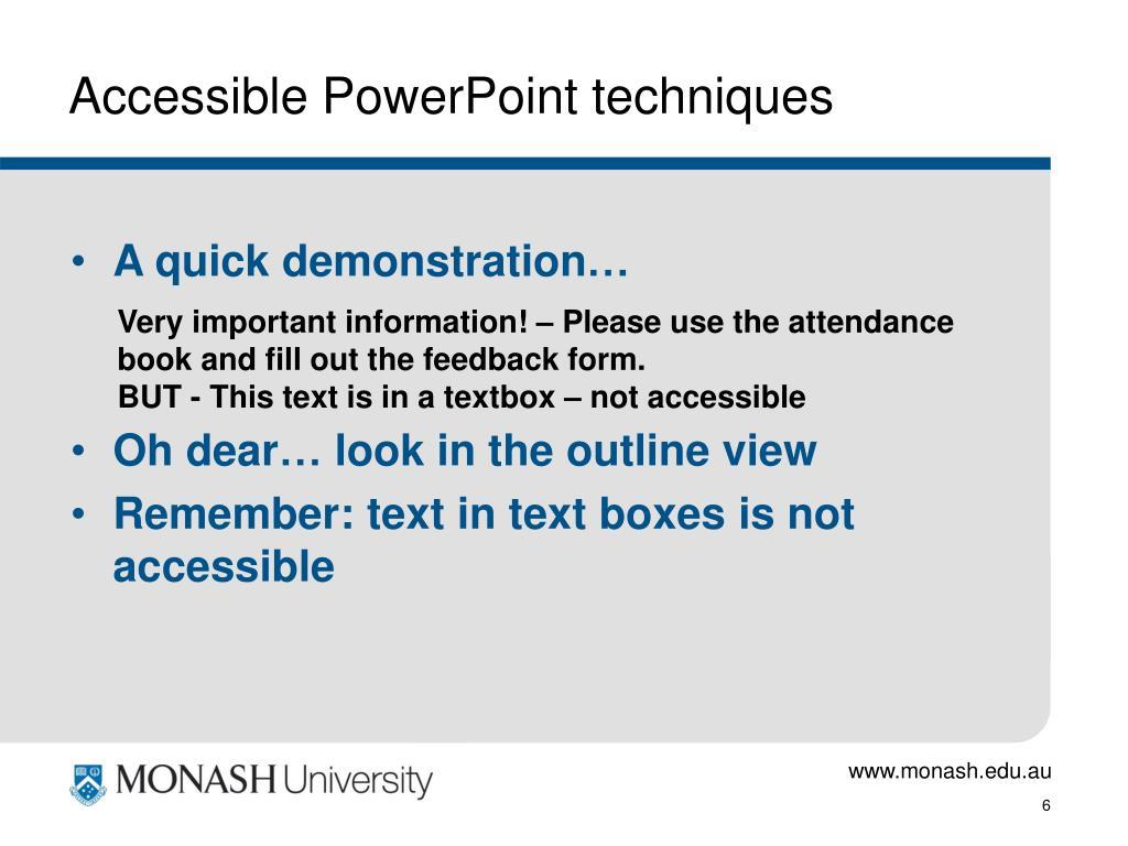Accessible PowerPoint techniques