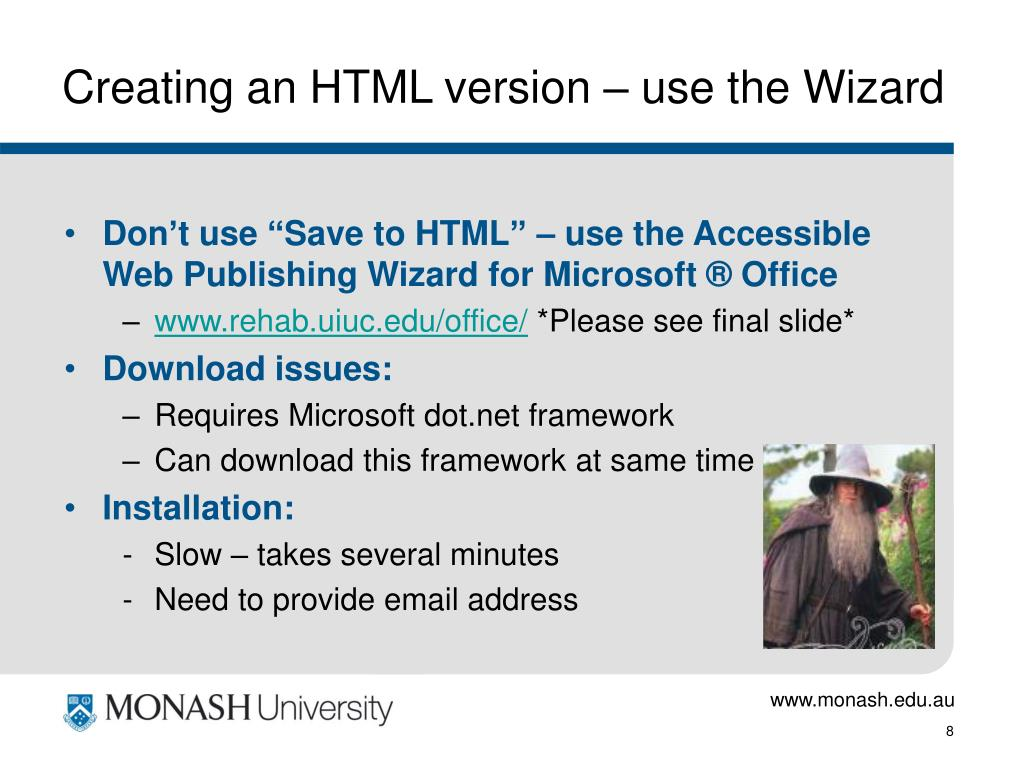 Creating an HTML version – use the Wizard
