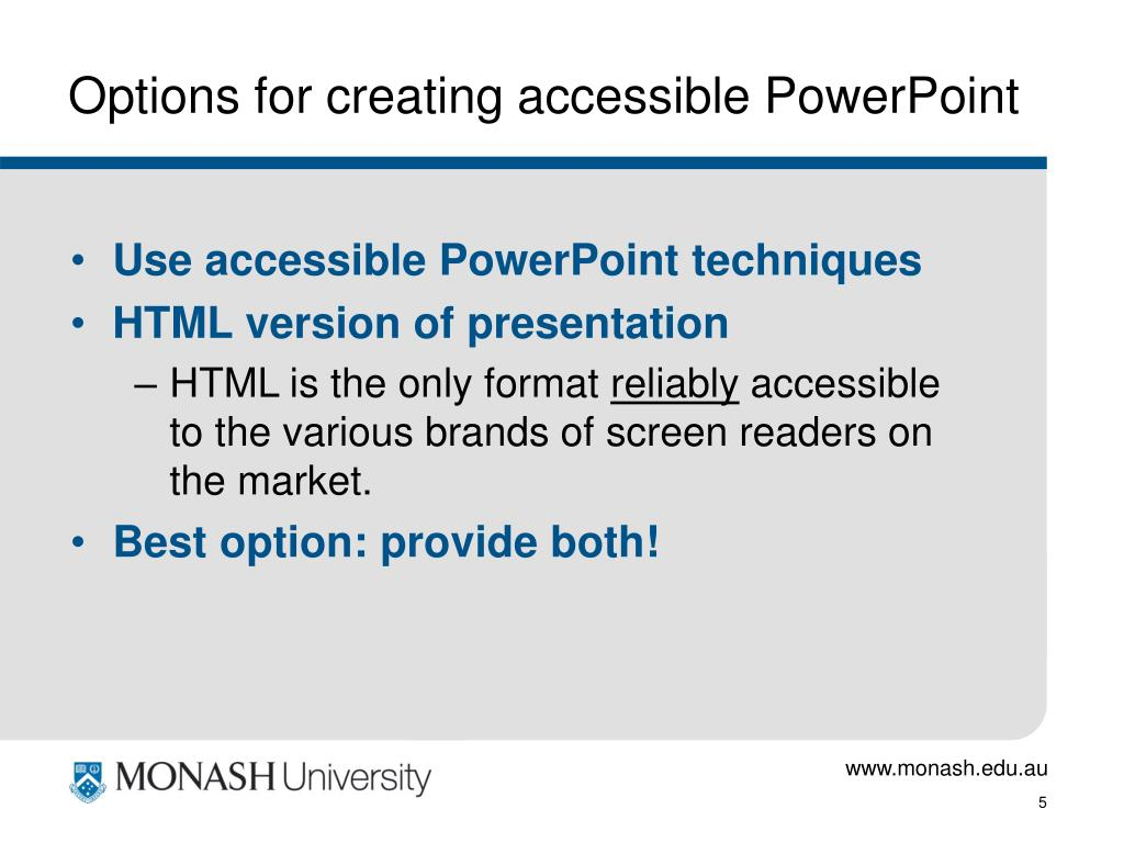 Options for creating accessible PowerPoint