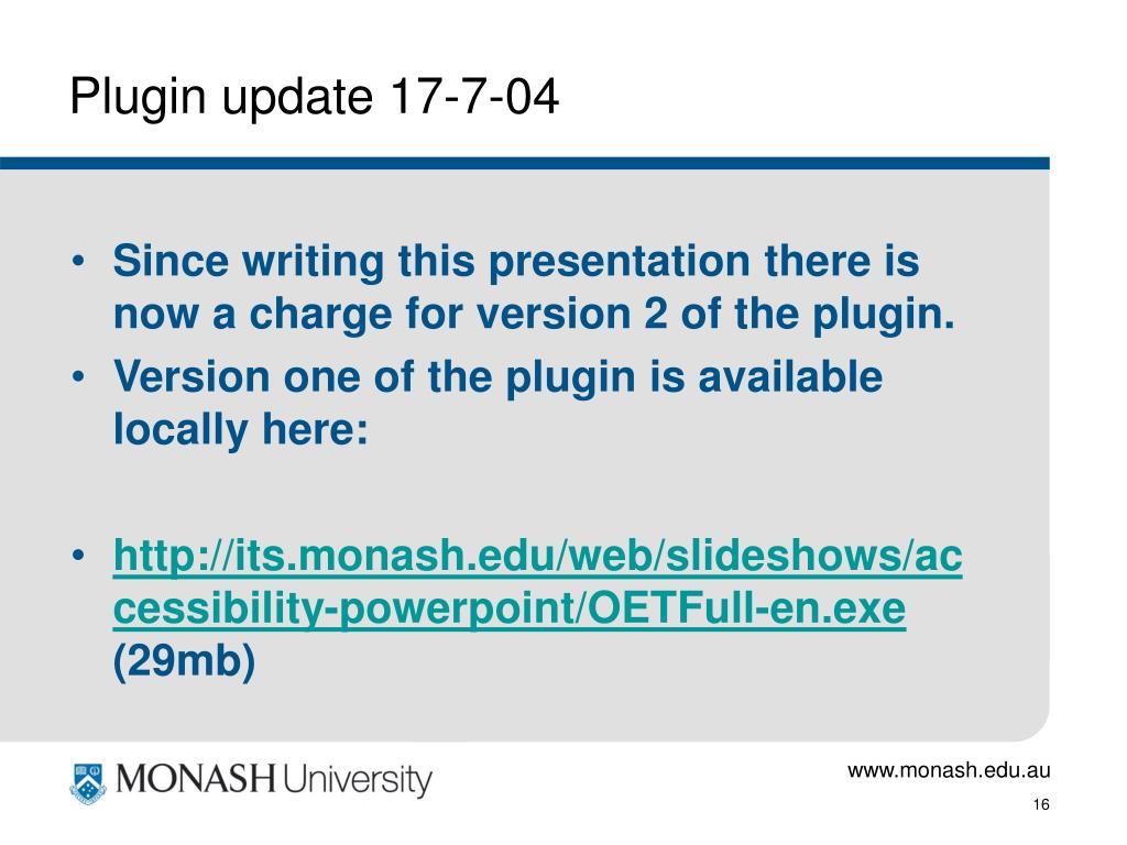 Plugin update 17-7-04