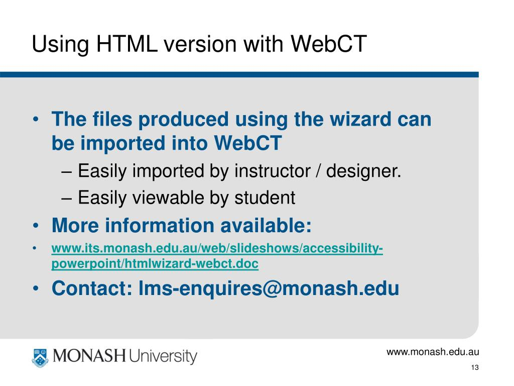 Using HTML version with WebCT