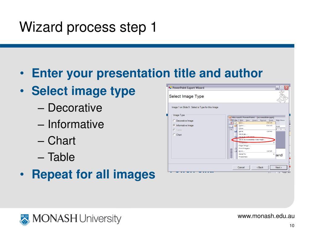 Wizard process step 1