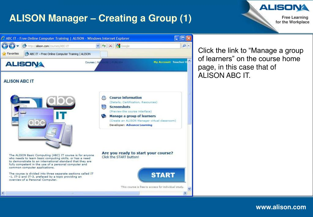 ALISON Manager – Creating a Group (1)