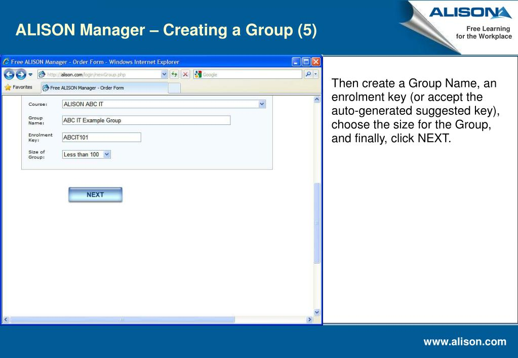 ALISON Manager – Creating a Group (5)