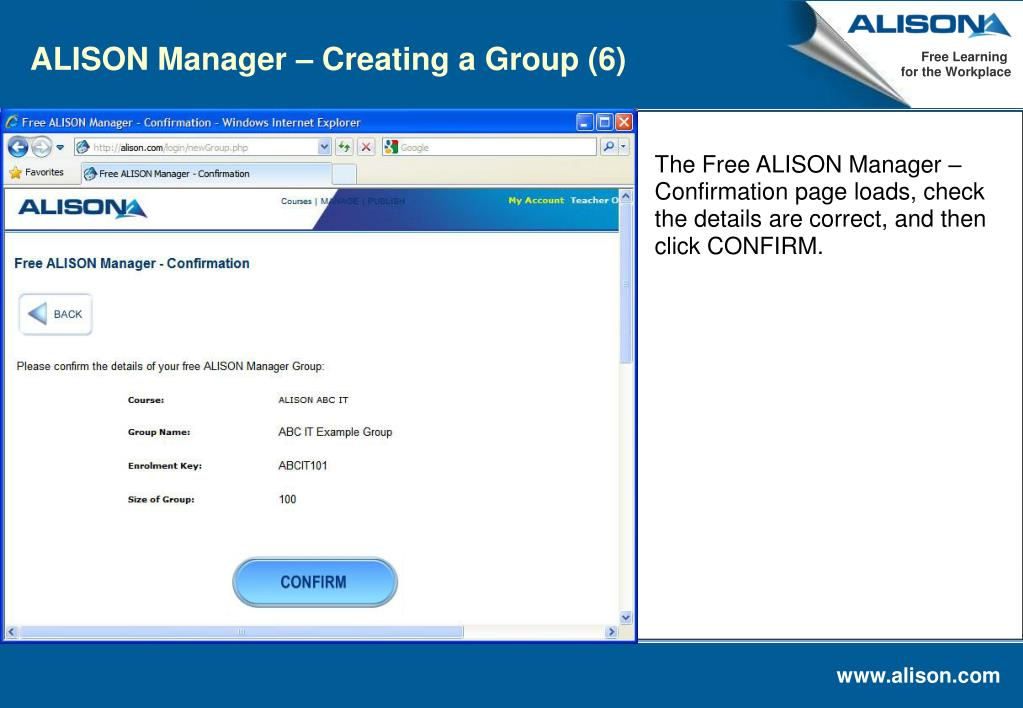 ALISON Manager – Creating a Group (6)
