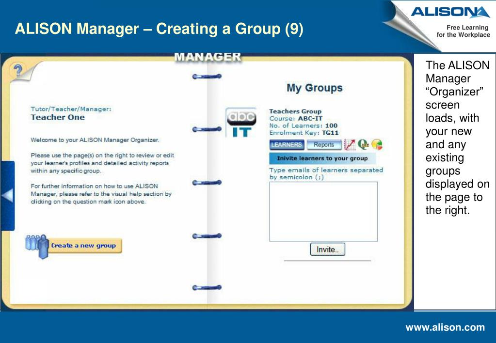 ALISON Manager – Creating a Group (9)