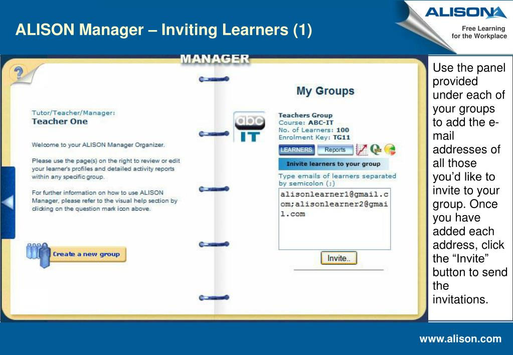 ALISON Manager – Inviting Learners (1)