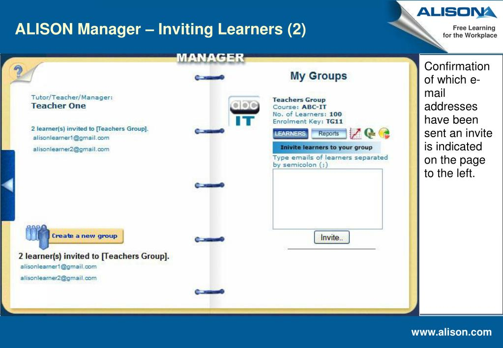 ALISON Manager – Inviting Learners (2)