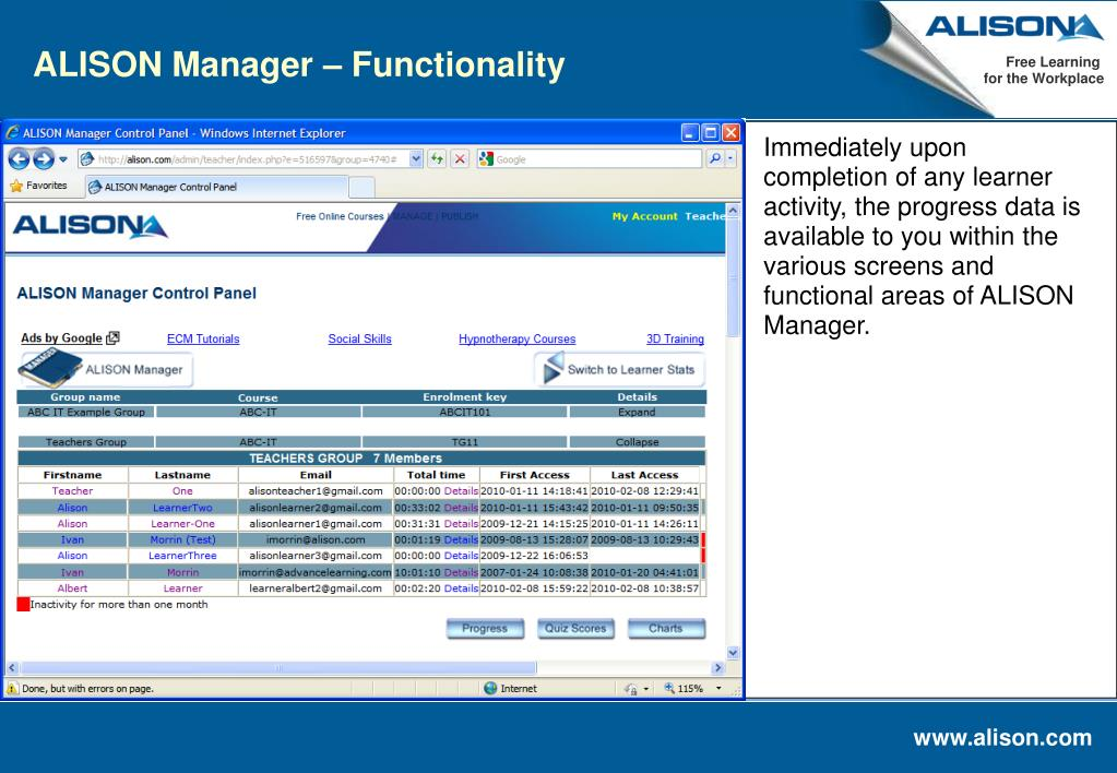 ALISON Manager – Functionality
