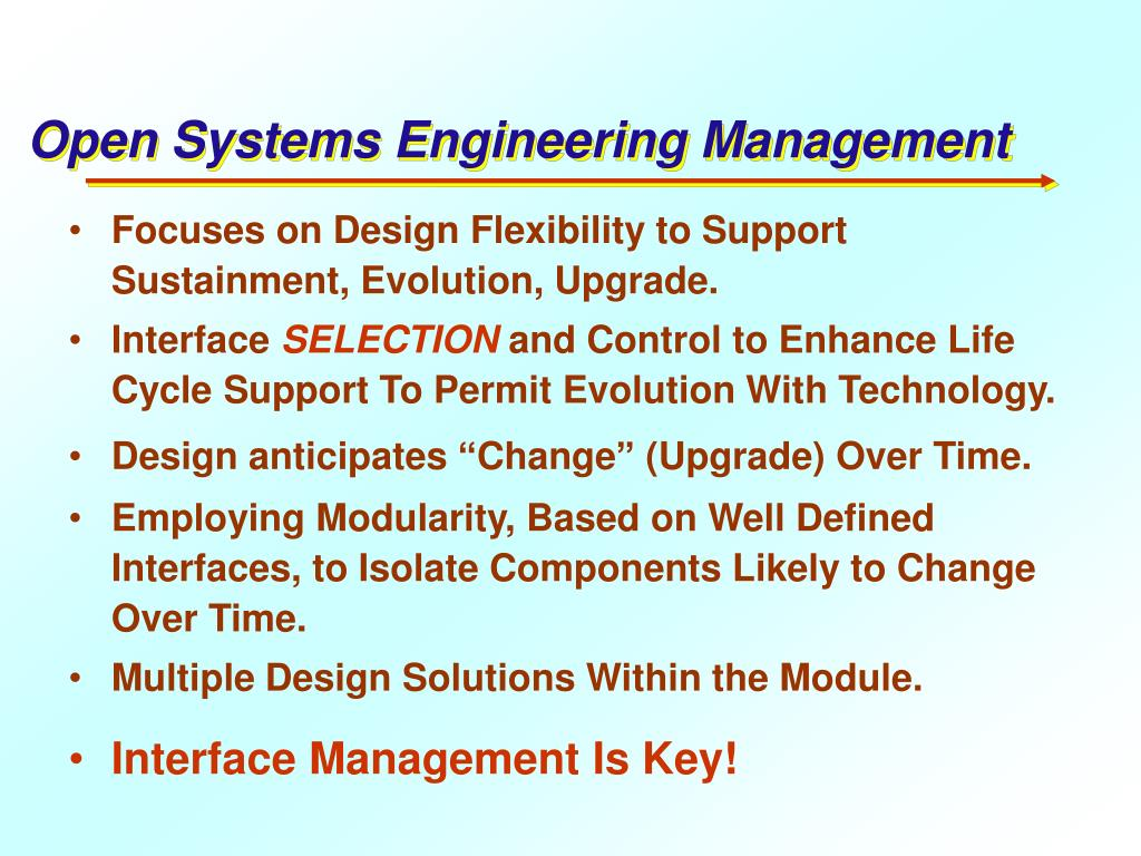 Open Systems Engineering Management