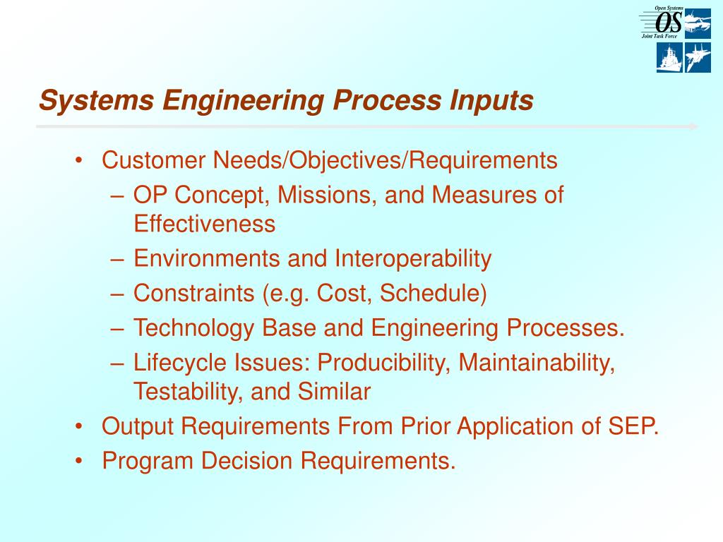 Systems Engineering Process Inputs
