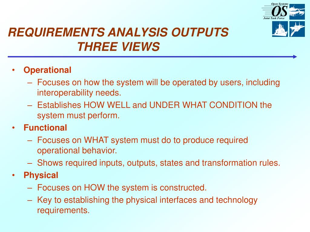 REQUIREMENTS ANALYSIS OUTPUTS THREE VIEWS