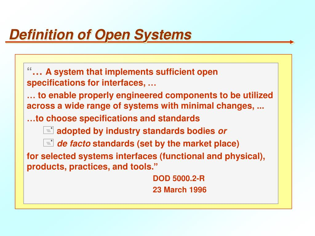 Definition of Open Systems