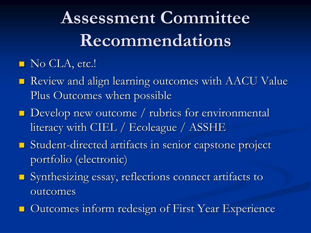 Assessment Committee Recommendations