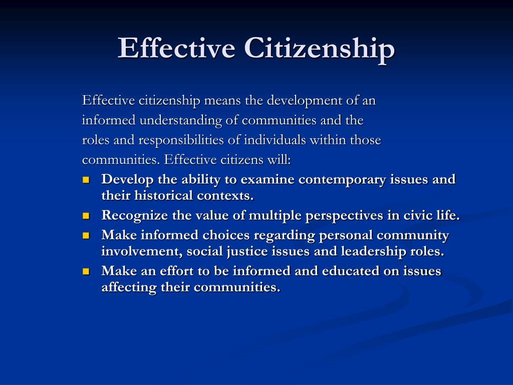 Effective Citizenship
