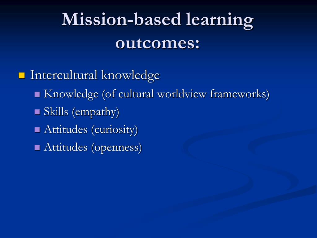 Mission-based learning outcomes:
