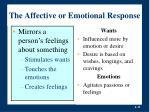 the affective or emotional response