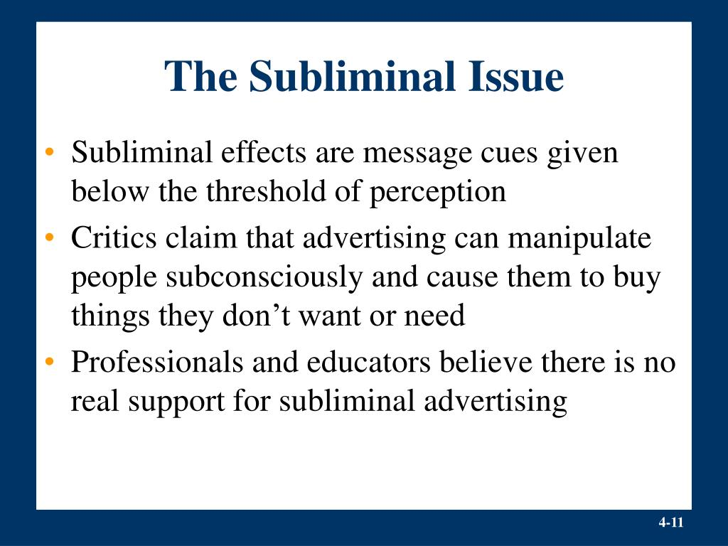 The Subliminal Issue