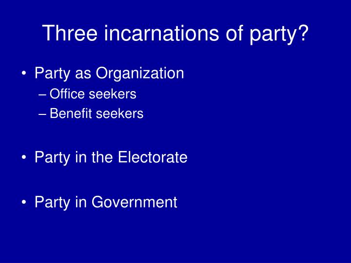 Three incarnations of party