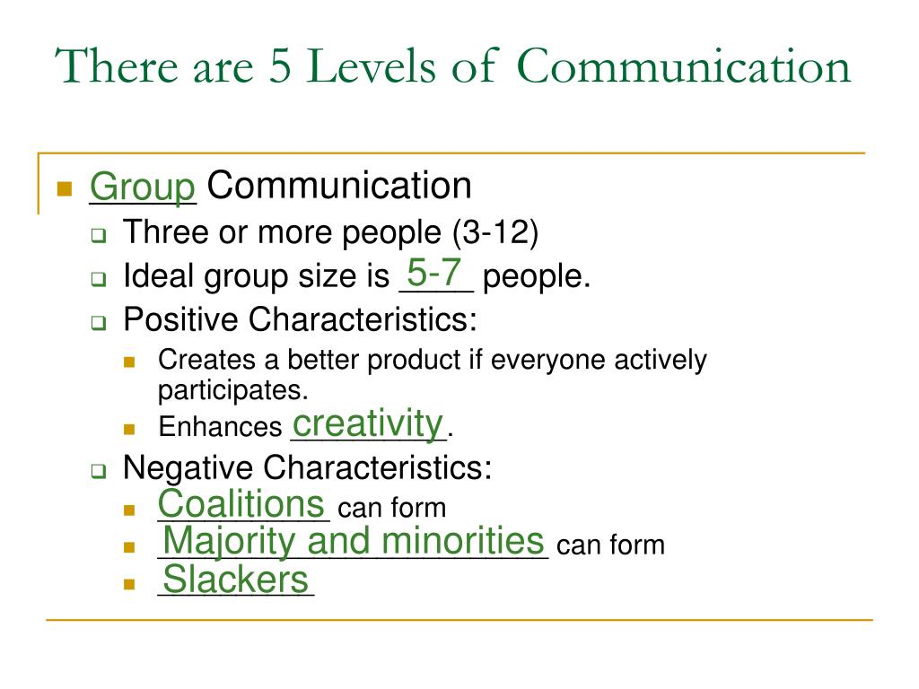 There are 5 Levels of Communication