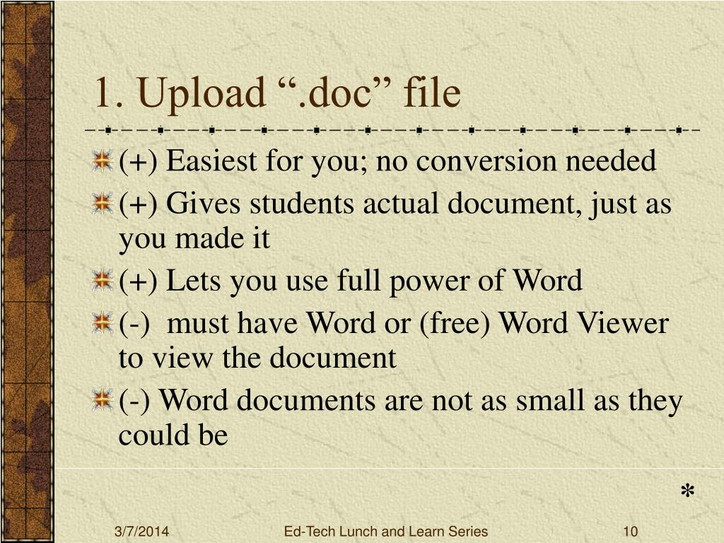 "1. Upload "".doc"" file"