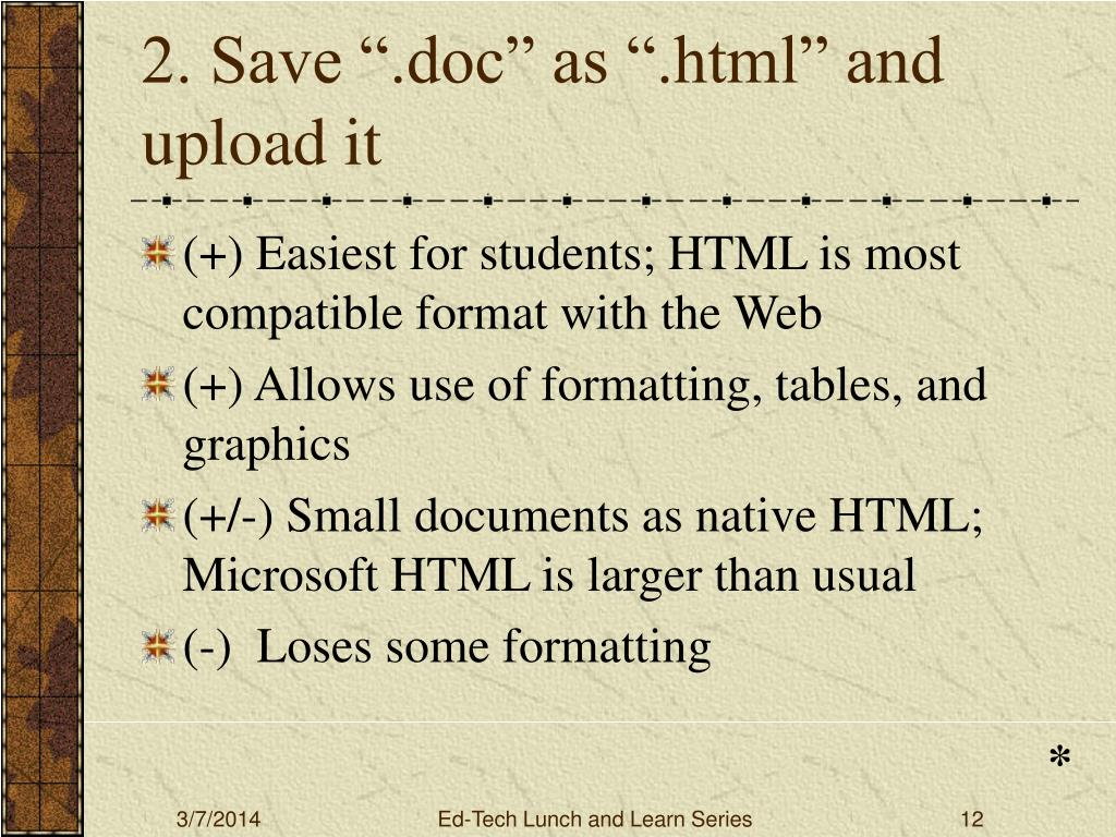 "2. Save "".doc"" as "".html"" and upload it"