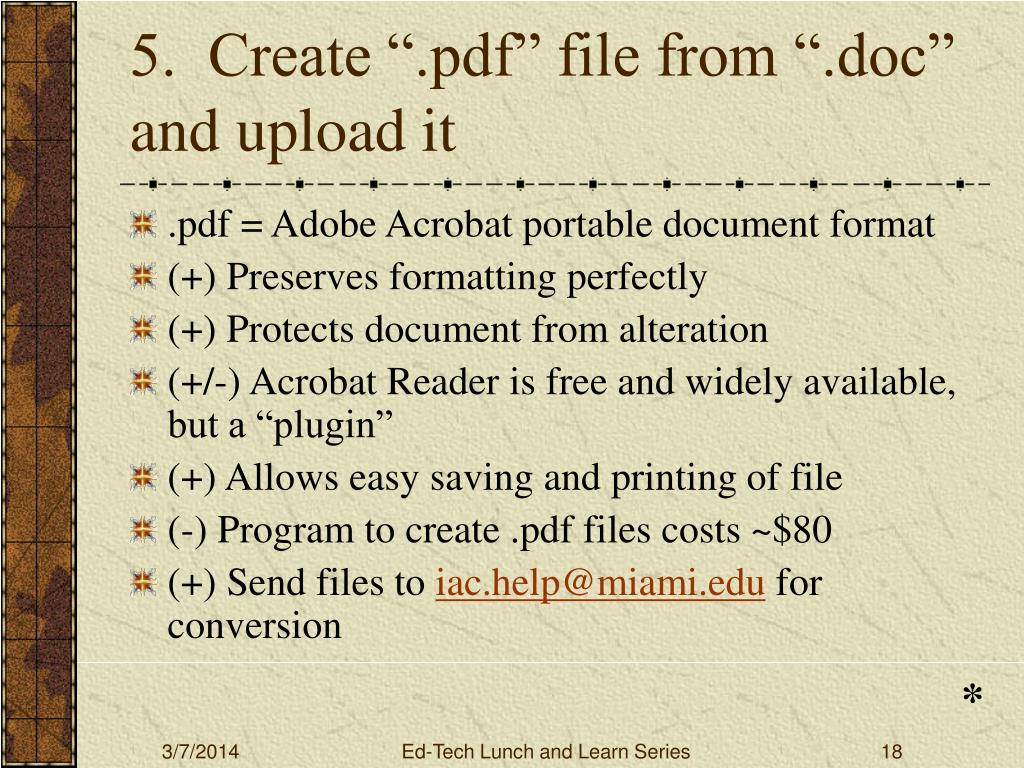 "5.  Create "".pdf"" file from "".doc"" and upload it"