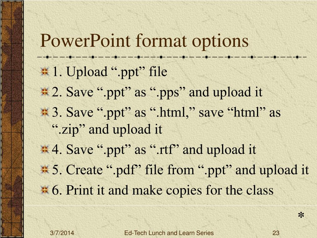 PowerPoint format options