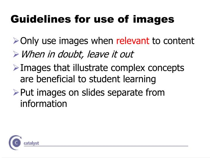 Guidelines for use of images