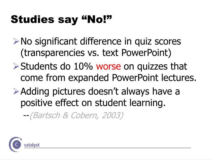 """Studies say """"No!"""""""