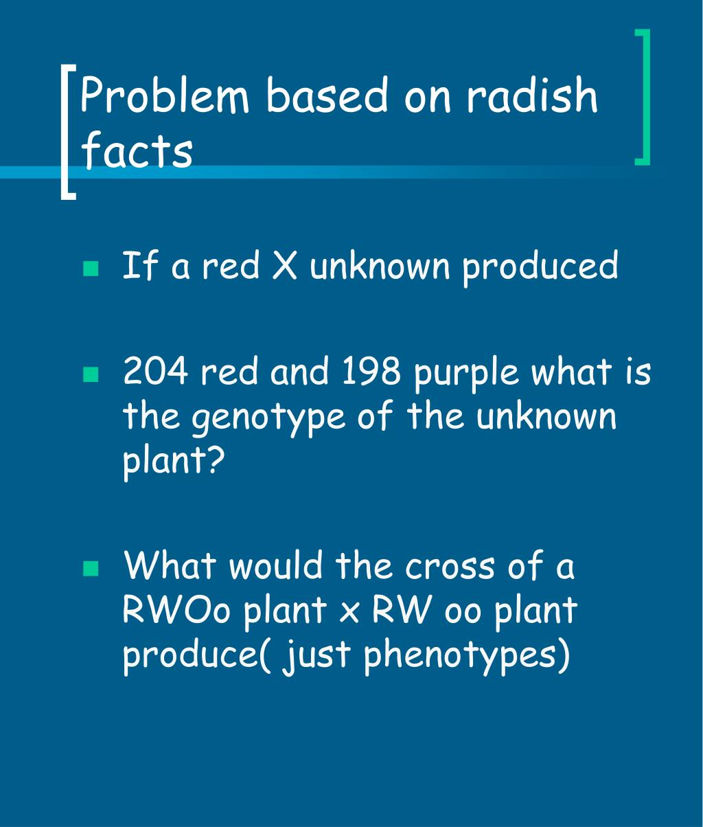 Problem based on radish facts