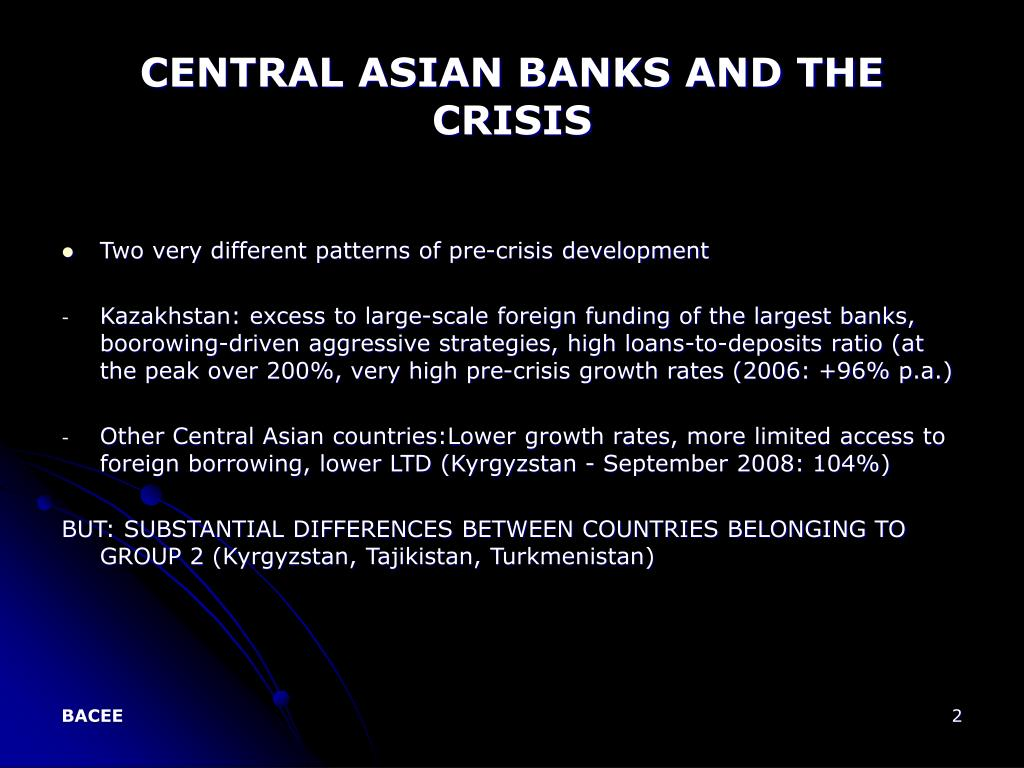 CENTRAL ASIAN BANKS AND THE CRISIS