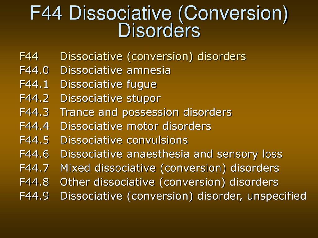 F44 Dissociative (Conversion) Disorders