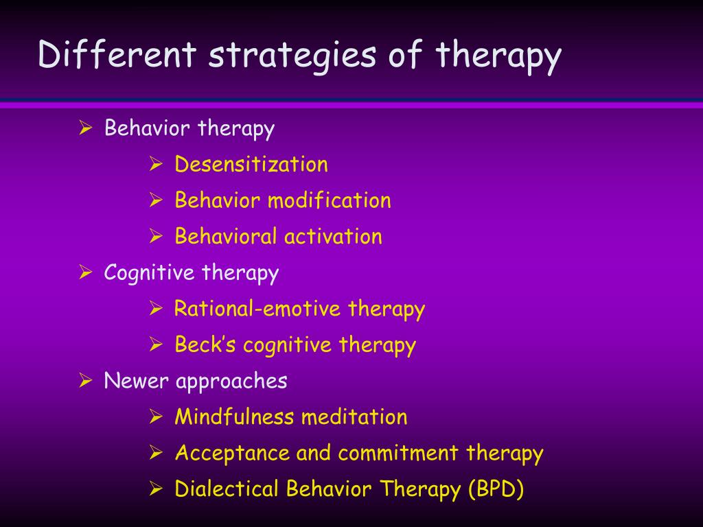 Different strategies of therapy