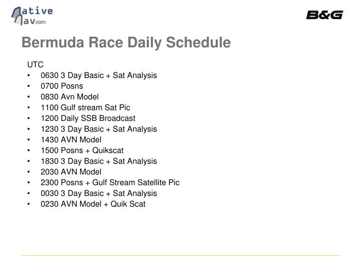 Bermuda Race Daily Schedule
