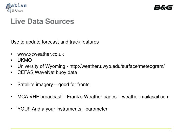 Live Data Sources